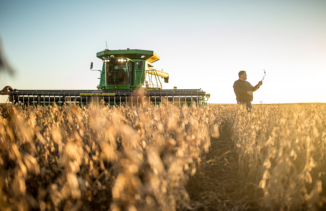 Asgrow® farmer in field with combine during harvest