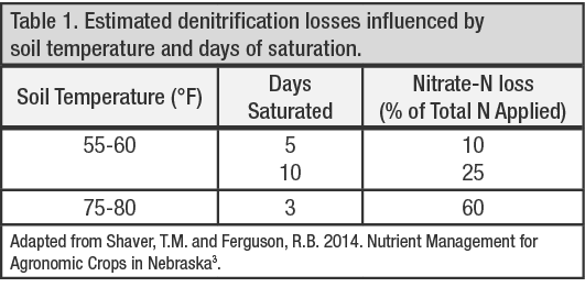 Estimated denitrification losses influenced by soil temperature and days of saturation.