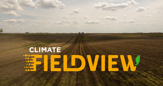 DEKALB® climate fieldview logo and image of field at harvest